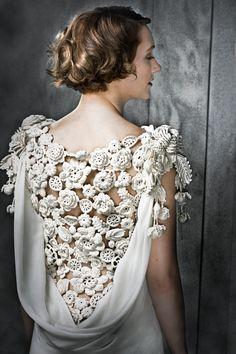 Irish Floral Crochet Dress. Deep cowl back filled with Irish crochet. Six layered flower on each overflowing crochet shoulder