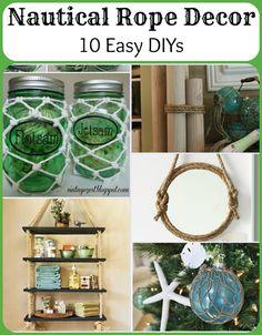 easi diy, idea, 10 easi, crafti, hous, beach, dyi nautical home decore, nautic rope, rope decor