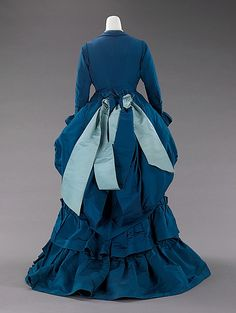 Blue silk afternoon dress, back view.  Charles Frederick Worth, French, ca. 1872.