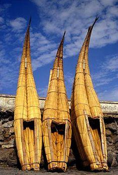 Caballitos (traditional tortora-reed boats) at Huanchaco, Trujillo.  Photo: Mylene d'Auriol Stoessel.