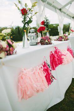 light + hot pink garland // photo by Pat Furey // View more: http://ruffledblog.com/hawaiian-island-wedding/