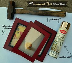DIY Hammered Gold Picture Frame -- of course I would make these silver with under tones from the room colors!