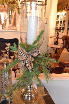 from Nell Hill's! love it! christma green, candl decor, nell hill, ribbon, pine, candlestick, holiday decor, candle decorations