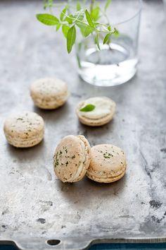 {What beautiful little summery macarons.} Lemon Verbena Macarons with Lemon Cream Cheese Filling | Tartelette