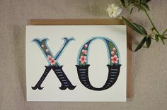 XO  Hugs and Kisses folded card hand lettering & by FourWetFeet, $4.25