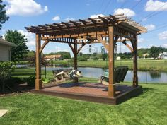 The structure was made from cedar and the decking is composite.  It is a very relaxing space and we both enjoy quality time together swinging and talking.