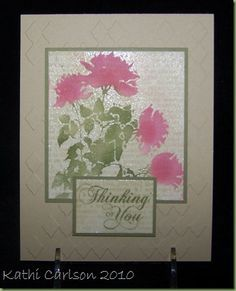"""By KAthi Carlson. Dry emboss card front. Stamp white cardstock with text.  Stamp Hero Arts """"Silhouette Meadow Flowers"""" negative stamp in VersaMark & heat emboss with clear powder. Sponge flowers. Add sentiment."""
