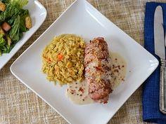Pork-don Bleu - using boneless chops to grill a reverse chicken cordon bleu.  Oh yeah, with a bacon cream sauce to boot.
