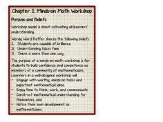 "Middle School Math Rules!: Minds on Math Book Study-Chapter 1 ""Minds on Math Workshop"""