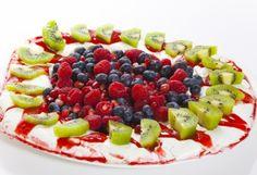 med frukt, frukt og, pavlova med