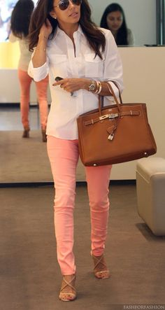 white button down - pastel skinnies - camel bag