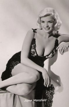 Jayne Mansfield vintage black and white 1950 s glamour actress movie star