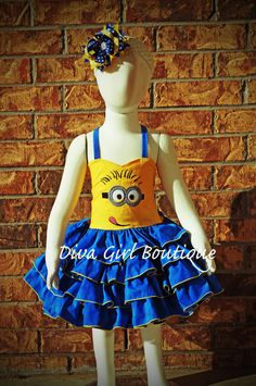 Boutique Girls Birthday Dress Minion Pageant Dress Outfit of Choice Childrens Clothing Boutique Hair Bow 6m 12m 18m 24m 2T 3T 4T 5 6 7 8 on Etsy, $109.50