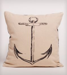 Black Anchor Organic Cotton Pillow//