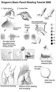 Basic Pencil Shading ~ lots of notes on basic shading on Snigom's deviantART page basic pencil, sketch, pencil shade, draw technique, draw refer, art, pencil drawing techniques, drawing shading tutorial, pencils
