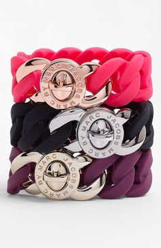 rubber & metal bracelets...lots of colors...on sale $35