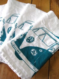 Screen Printed Organic Cotton VW Cloth Napkins  by ohlittlerabbit