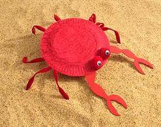 classroom idea, children summer crafts, crabbi art, craft ideas, paper crafts, crab ideas, art projects, paper plates, crab crafts for kids