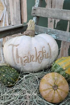 White pumpkin, thankful. Heather Bullard  #rustic #fall #autumn #pumpkin #white #thanksgiving #farmhouse #decor #diy #country #chic #shabby #elegant