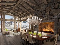 Switzerland Luxury Interior Designs Dining Rooms, Hotel Interiors, Interior Design, Mountains, Fireplac, Dream, Hous, Chalet, Mountain Homes