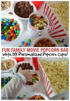 Family Movie Night Popcorn Bar + Personalized Popcorn Cups - [#sponsored @PopSecret #PerfectPop #GoodbyeBurnedPopcorn] #kids #parenting #kbn #binspiredmama