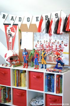 Boy room decorated by reusing party decor too!