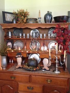 Pewter Hutch decorated for Fall