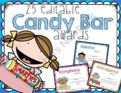 50 End of the School Year EDITABLE CANDY AWARDS featuring BOTH girls and boys from TinyToes on TeachersNotebook.com -  (100 pages)  - FIFTY Colorful EDITABLE Candy Bar Superlative Awards for the End of School. I love this style of kids for the certificates and I think your kids will, too! Each candy bar was hand-drawn for a personal touch!