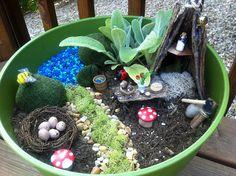 Fairy Garden in a Planter Pot.