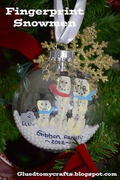 Fingerprint Snowmen. Great ornament for everyone to do