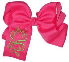 embroid bows little girls, initials, desktop, pink, daughters, hair bows, big bows, monograms, monogram bow