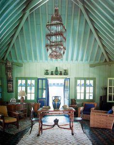 living rooms, green walls, yves saint laurent, blue doors, oasi, color, sitting rooms, hous, painted ceilings