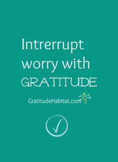 It works.  Have a grateful day. Visit us at: www.GratitudeHabitat.com #gratitude-quote #worry #inspiration