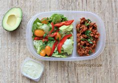 Healthy Week: Lunches 5 {Taco Salad with Avocado Herb Dressing} | EricasRecipes.com