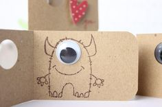 """monster cards...awesome with the googly eye! Valentine? """"EYE love you""""?"""