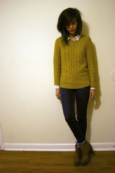 mustard cable knit sweater, button down shirt, cuffed skinny jeans, ankle boots, layering, casual outfit