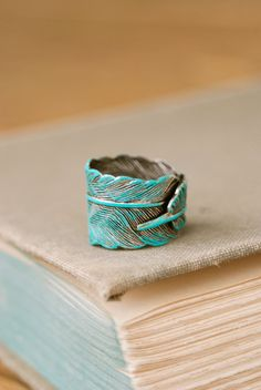 Bohemian feather ring. aqua by tiedupmemories on Etsy