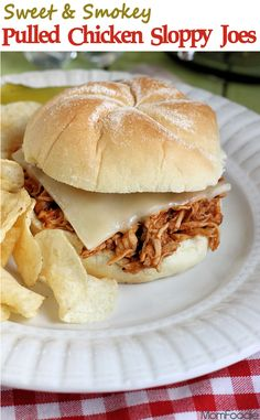 Pulled Chicken Sloppy Joes - perfect for football Sundays.