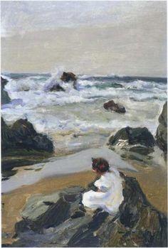 Elenita at the Beach, Asturias - Joaquin Sorolla