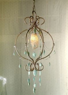 Turquoise chandelier!