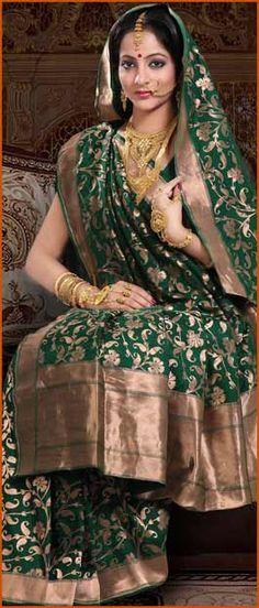 Dark #Green Pure #Banarasi #Silk #Saree with #Blouse @ $252.71 | Shop Here: http://www.utsavfashion.com/store/sarees-large.aspx?icode=snn27d