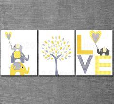Yellow and grey Nursery Art Print Set, Kids Room Decor, Baby/Children Wall Art - Tree, Elephants, BABY Elephant, LOVE.