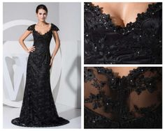 Black/white lace wedding dress elegants sex long lace prom dress with satin inner/Evening/Party/Homecoming/cocktail Formal dress on Etsy, $198.00
