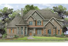 There's a den inside the beautiful turret. We also love the master suite's fireplace and the great room's decorative ceiling treatment. Click to see the layout of plan HWEPL76118.