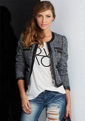 Tweed Jacket With Faux Leather Trim