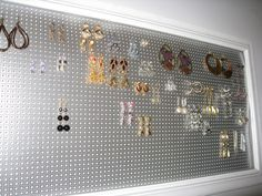 Earring Organizer using metal decorative sheets and old picture frame