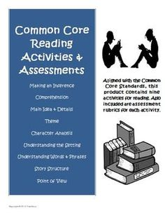 Common Core Reading Assessment Worksheets and Rubrics ready to use with your students! $