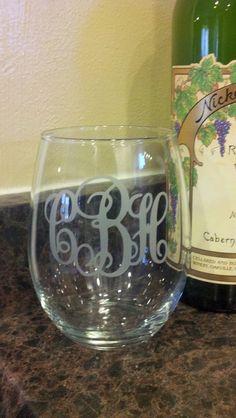 Stemless Monogrammed Wine Glasses