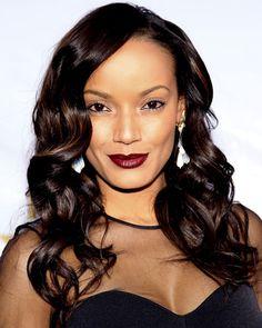 Selita Ebanks. I need this wine lipstick in my life asap! lipsticks, beauty makeup, wine lip, makeup board, red lips, selita ebank, beauti, hair, burgundy