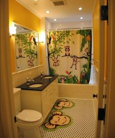 Aw I love this monkey bathroom, we had that once! So sweet! 30 Colorful and Fun Kids Bathroom Ideas